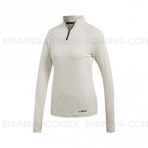 ADIDAS Tee-Shirt manches longues 1/2 Zip TRACEROCKER Femme   Blanc Brut
