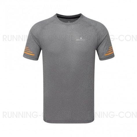 RONHILL Tee-shirt manches courtes STRIDE Homme | Grey Marl/Sunburst | Collection Printemps-Été 2019
